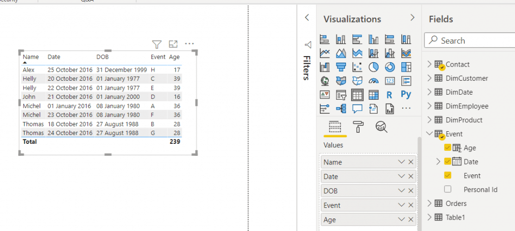 Power bi date difference between two tables