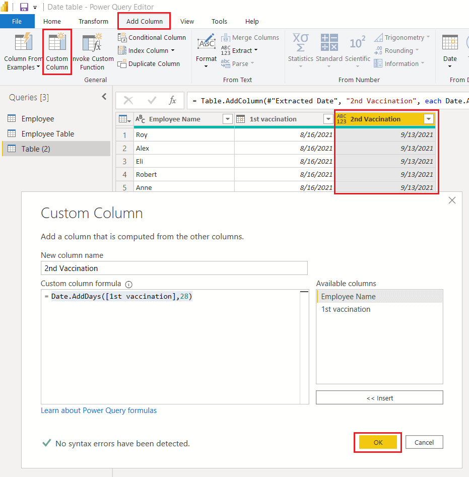Date.AddDays() function using M query