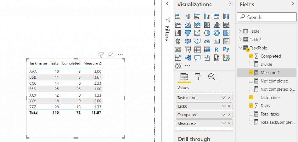power bi measure divide by row by row