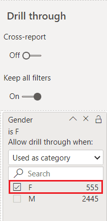 Drill through filters in power bi