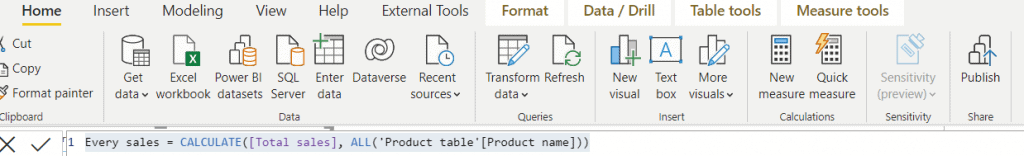 power bi show value as percentage of total