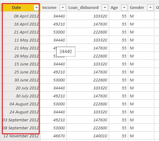 power bi date format in table