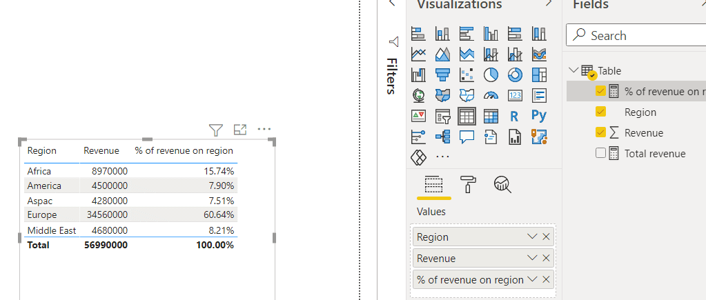 Power bi measure percentage column total