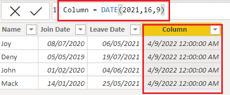 Date function example on Power BI