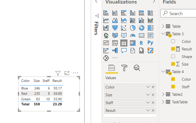 power bi measure divide two columns from different table
