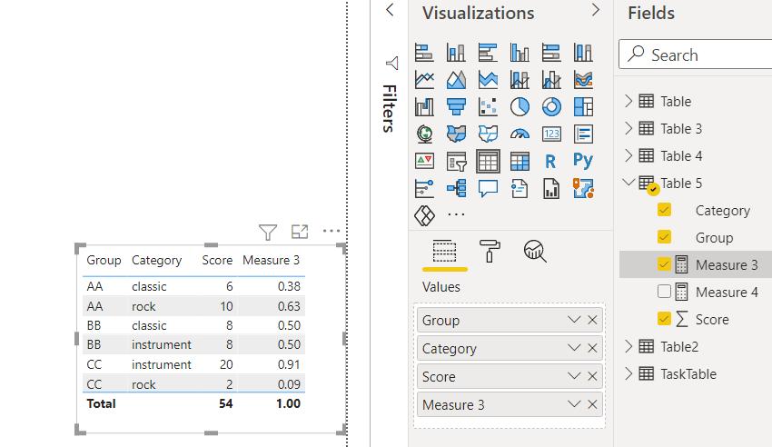 power bi measure divide column by number
