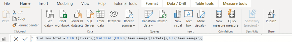 power bi show value as percentage of row total