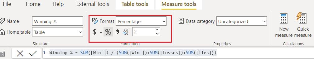 Power bi show value as percentage format