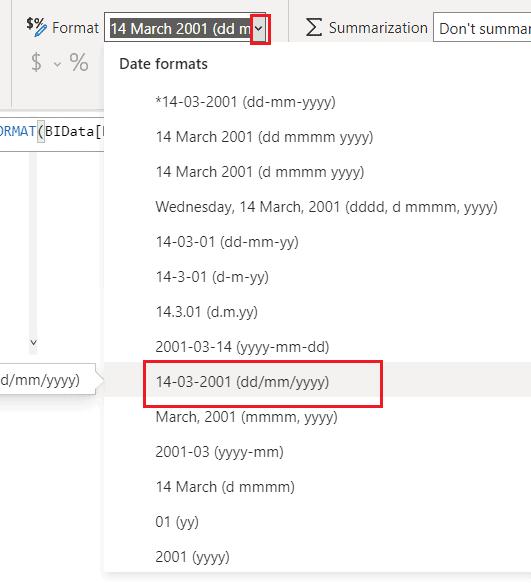 power bi date format dd/mm/yyyy