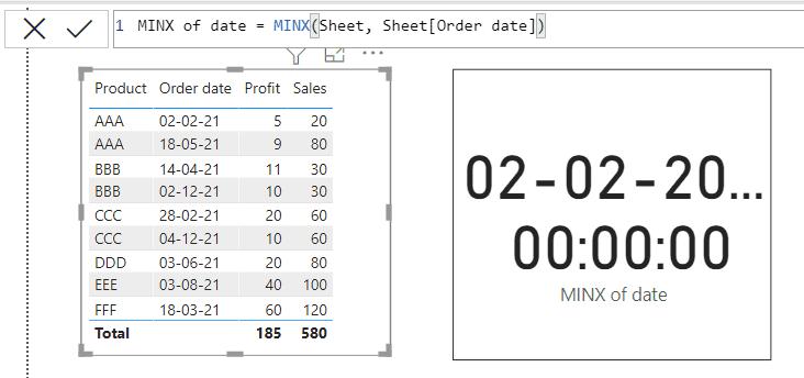 Power bi MINX function