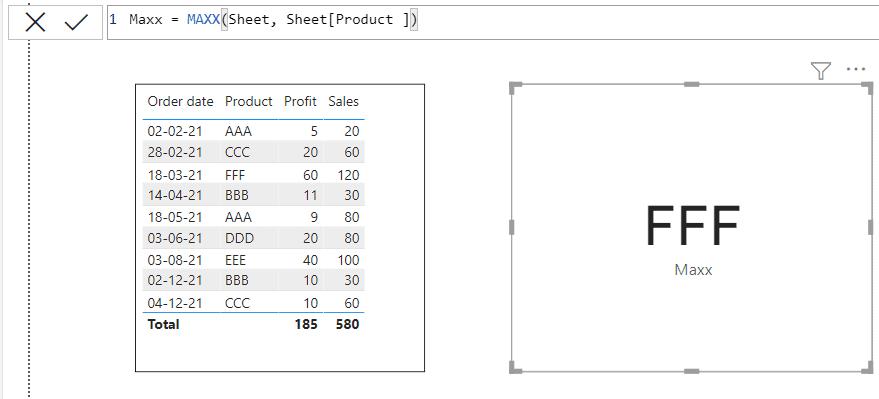 Power bi MAXX function