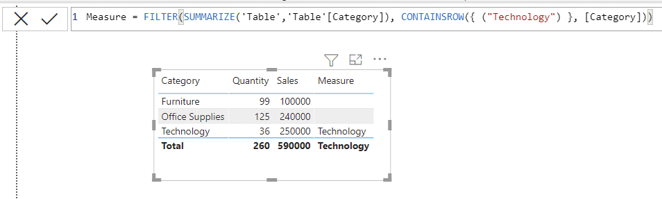Power Bi CONTAINSROW function