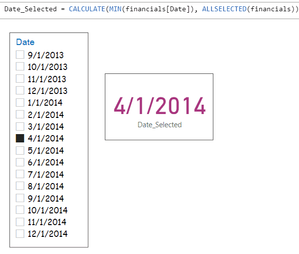 Power BI get selected Date from date slicer