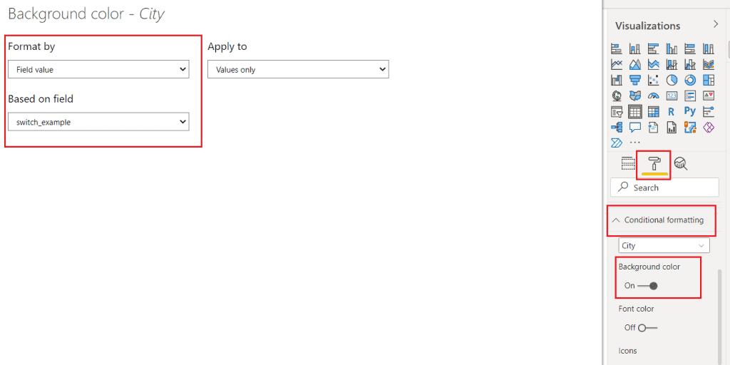 Power bi SWITCH() DAX function