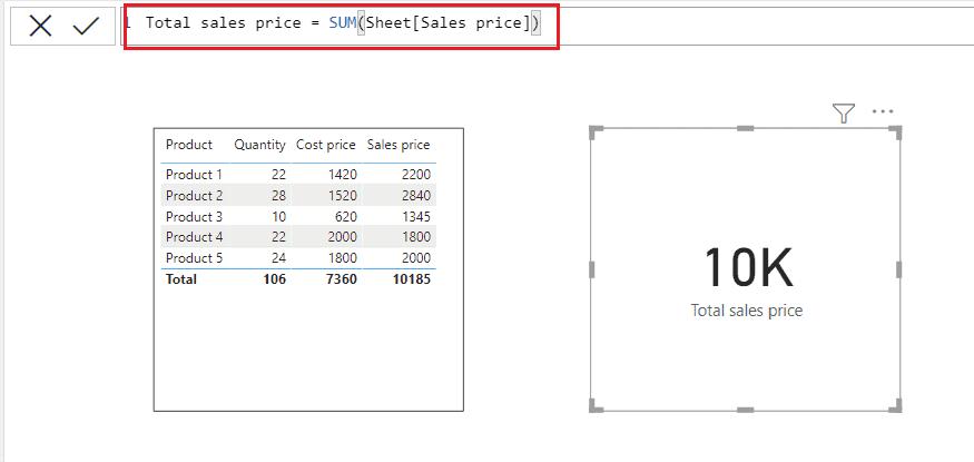 Power bi Dax SUM function