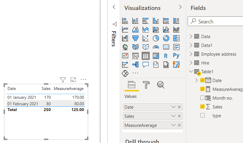 create a measure for average monthly sales power bi