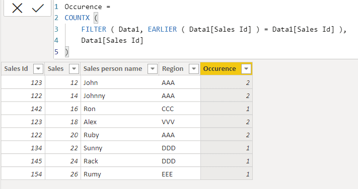 Power bi dax count number of occurrence