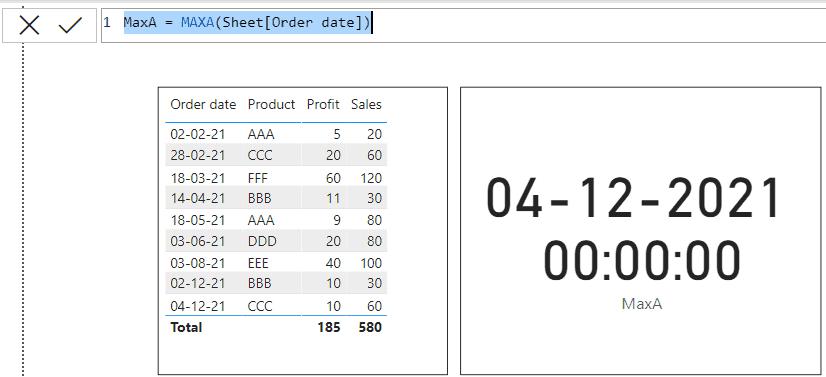 Power bi MAXA function
