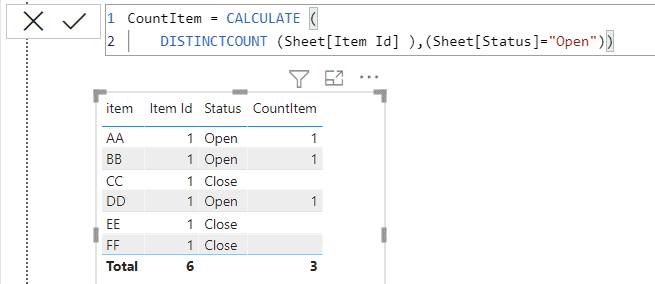 Count the distinct values in a column