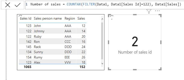 Power Bi COUNTAX function